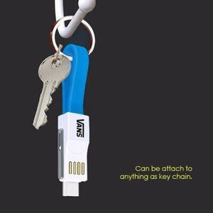 Custom Logo USB 3-in-1 Charging Cable Magnet Key Chain