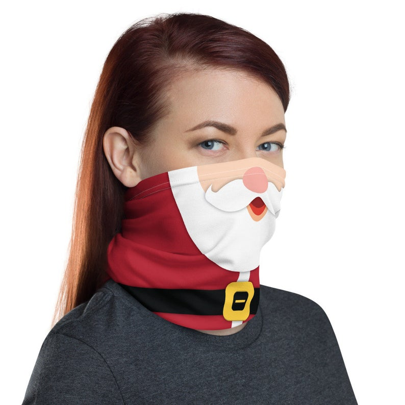 Santa Claus and Elf Neck Gaiter Christmas Double Sided St Nick and Elf Design
