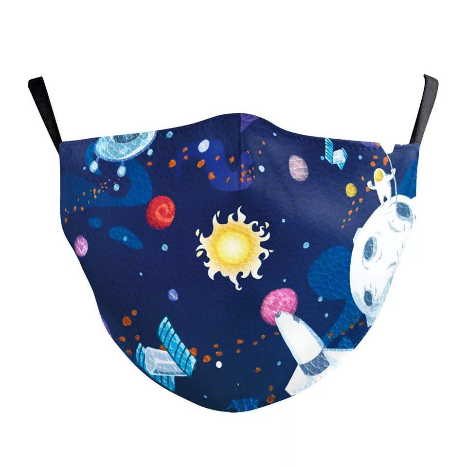 Stars Printed Face Mask, Washable Cloth Reusable Dust Proof  Face Cover With 2 Extra Filters