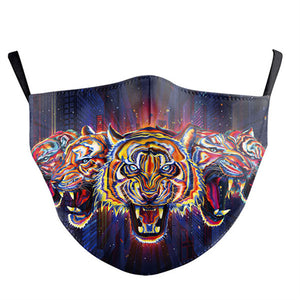 Colorful Tiger Printed Face Mask, Washable Cloth Reusable Dust Proof  Face Cover With 2 Extra Filters