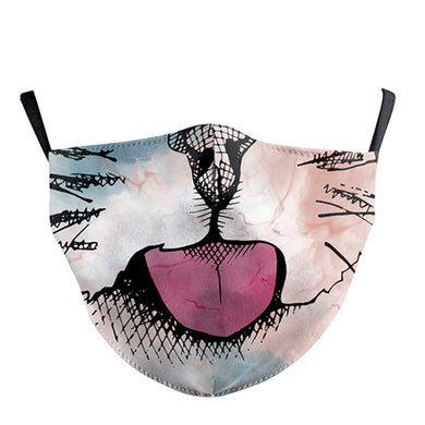3D Cat Printed Face Mask, Washable Cloth Reusable Dust Proof  Face Cover With 2 Extra Filters