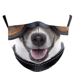 3D Dog Printed Face Mask, Washable Cloth Reusable Dust Proof  Face Cover With 2 Extra Filters