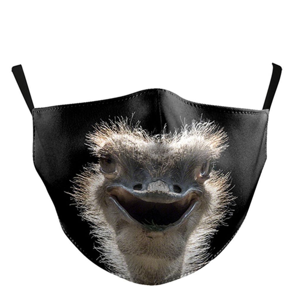 Black Birds Printed Face Mask, Washable Cloth Reusable Dust Proof  Face Cover With 2 Extra Filters