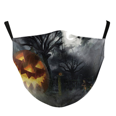 Halloween Printed Face Mask, Washable Cloth Reusable Dust Proof  Face Cover With 2 Extra Filters