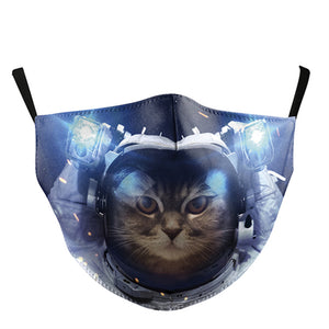Space Cat Printed Face Mask, Washable Cloth Reusable Dust Proof  Face Cover With 2 Extra Filters
