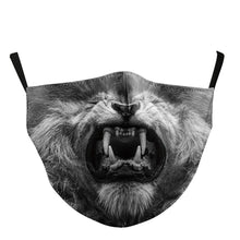 Load image into Gallery viewer, 3D Lion Printed Face Mask, Washable Cloth Reusable Dust Proof  Face Cover With 2 Extra Filters