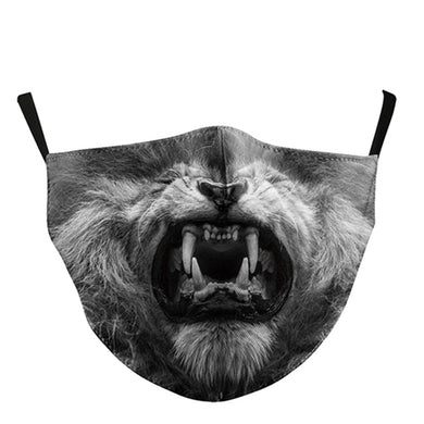 3D Lion Printed Face Mask, Washable Cloth Reusable Dust Proof  Face Cover With 2 Extra Filters