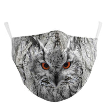Load image into Gallery viewer, 3D Owl Printed Face Mask, Washable Cloth Reusable Dust Proof  Face Cover With 2 Extra Filters