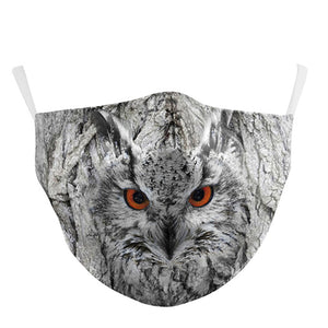 3D Owl Printed Face Mask, Washable Cloth Reusable Dust Proof  Face Cover With 2 Extra Filters