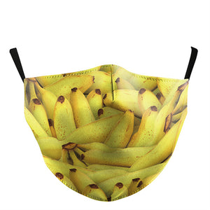 3D Banana Printed Face Mask, Washable Cloth Reusable Dust Proof  Face Cover With 2 Extra Filters