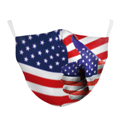 3D Flag Printed Face Mask, Washable Cloth Reusable Dust Proof  Face Cover With 2 Extra Filters
