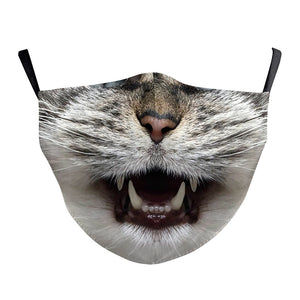 Cute Cats Printed Face Mask, Washable Cloth Reusable Dust Proof  Face Cover With 2 Extra Filters