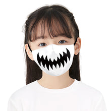Load image into Gallery viewer, White Bat Flying Printed Face Mask, Washable Cloth Reusable Dust Proof  Face Cover With 2 Extra Filters