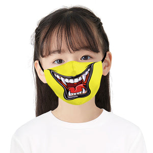 Yellow Mouth Printed Face Mask, Washable Cloth Reusable Dust Proof  Face Cover With 2 Extra Filters