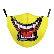 Load image into Gallery viewer, Yellow Mouth Printed Face Mask, Washable Cloth Reusable Dust Proof  Face Cover With 2 Extra Filters