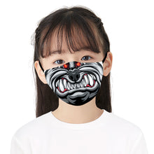 Load image into Gallery viewer, Black Angry Mouth Printed Face Mask, Washable Cloth Reusable Dust Proof  Face Cover With 2 Extra Filters