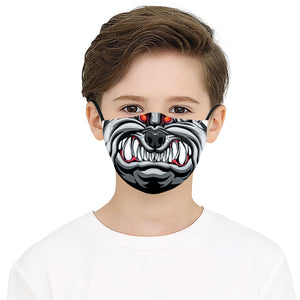 Black Angry Mouth Printed Face Mask, Washable Cloth Reusable Dust Proof  Face Cover With 2 Extra Filters