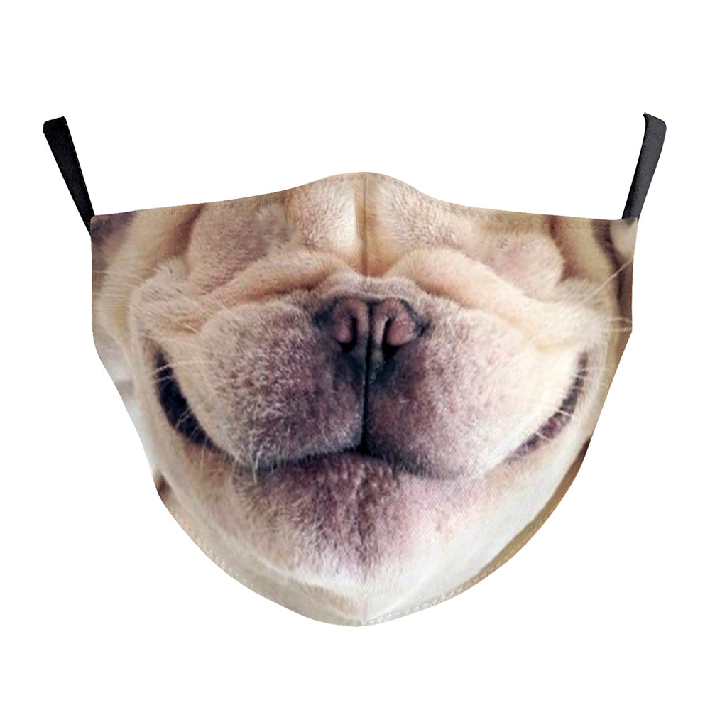 3D Dog Nose Printed Face Mask, Washable Cloth Reusable Dust Proof  Face Cover With 2 Extra Filters