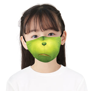Green Funny Face Printed Face Mask, Washable Cloth Reusable Dust Proof  Face Cover With 2 Extra Filters