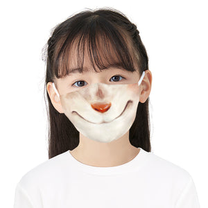 Smiling Dog Printed Face Mask, Washable Cloth Reusable Dust Proof  Face Cover With 2 Extra Filters