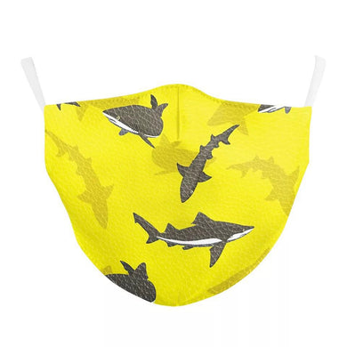 Yellow Sharks Printed Face Mask, Washable Cloth Reusable Dust Proof  Face Cover With 2 Extra Filters