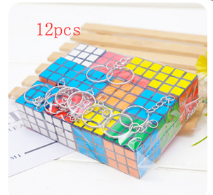 Mini 3x3 Cube Keychains, 1.2 Inch Speed Rubik's Key Ring, 12 Pcs