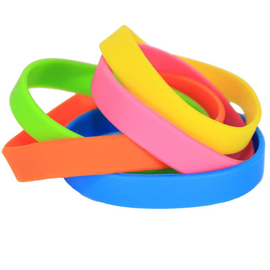 DIY Blank Silicone Wristbands Mix Colors for Imprinting and Self Customization - 100 Pack