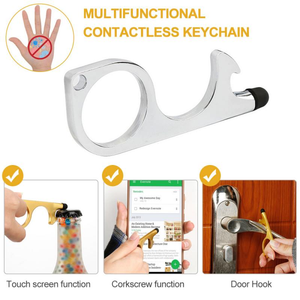 Custom Logo No-Touch Anti-bacterial Opener Keychain & Promotional Contactless Door Opener