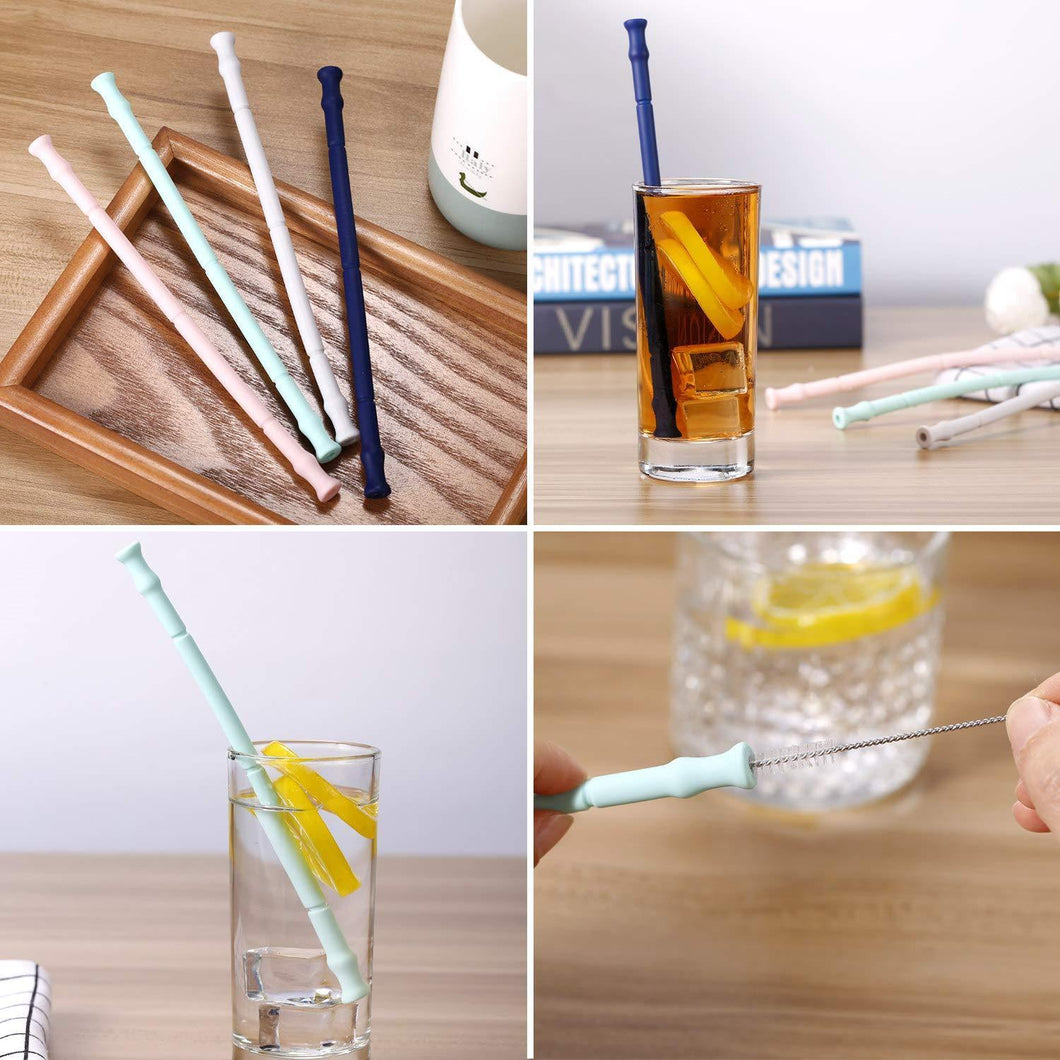 Promotional Reusable Straw Custom Logo Collapsible Silicone Straws with Portable Case and Brush
