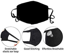 Load image into Gallery viewer, Black Birds Printed Face Mask, Washable Cloth Reusable Dust Proof  Face Cover With 2 Extra Filters