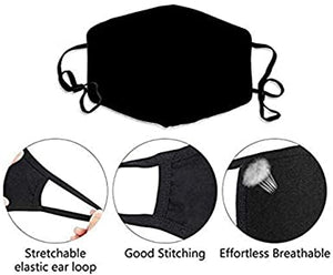 Yellow Bat Printed Face Mask, Washable Cloth Reusable Dust Proof  Face Cover With 2 Extra Filters
