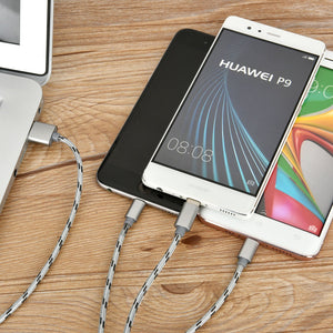 3 in 1 Braided Multiple USB Fast Charger Cord 3ft(1m) with Lighting, Micro USB, Type C