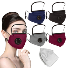 Load image into Gallery viewer, Bulk Filtered Face Masks And Detachable Eye Shield, PM2.5 Respirator Mouth Muffle Protective Reusable Mask