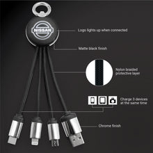Load image into Gallery viewer, Custom Promotional 4 in 1 Light Up Logo Multi USB Charging Cable