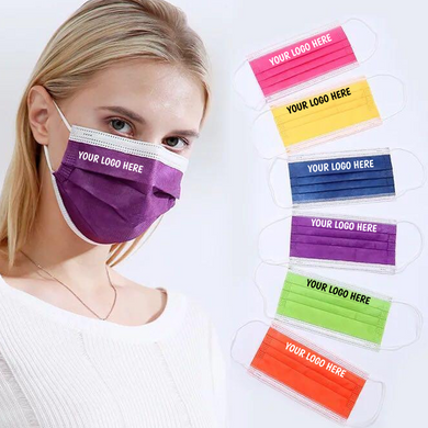 Custom Disposable Face Masks, Logo Printed Medical Face Mask 3 Ply - All Colors