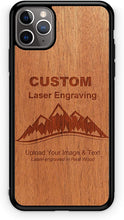 Load image into Gallery viewer, Promotional Custom Logo Handmade Laser Carved Wood Phone Cases