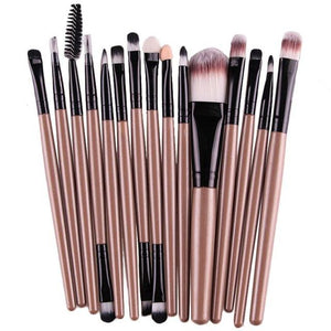 15 Pieces Set Eye Shadow Foundation Eyebrow Lip Brush Makeup Brushes Tool