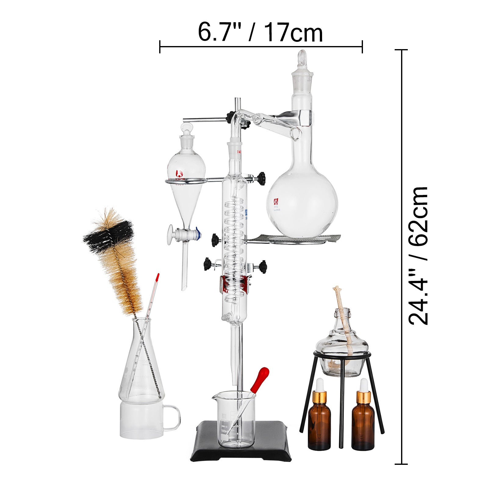 Chemistry Lab Glassware Kit With 24/40 Glass Ground Joints 32pcs