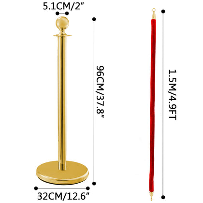 Stainless Steel Crowd Control Stanchions And Velvet Ropes Ball Round Top Gold Pillar 2 Red Ropes 1.5m 3pack