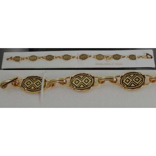 Damascene Gold Link Bracelet Oval Geometric by Midas of Toledo Spain style 800006