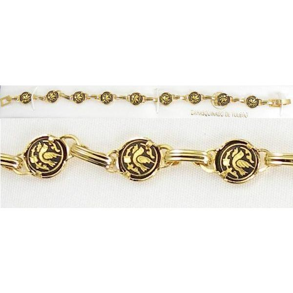 Damascene Gold Link Bracelet Round Bird by Midas of Toledo Spain style 850024