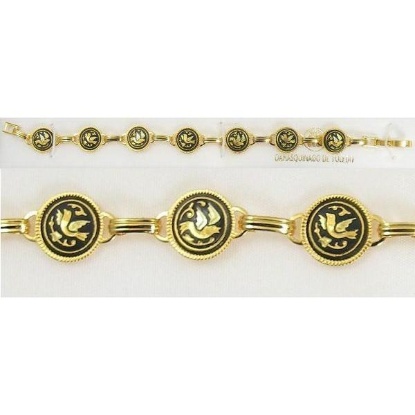Damascene Gold Link Bracelet Round Bird by Midas of Toledo Spain style 800019