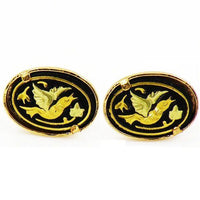 Damascene Gold Oval Bird Earrings by Midas of Toledo Spain style 810010