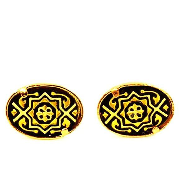 Damascene Gold Oval Geometric Design Earrings by Midas of Toledo Spain style 810010