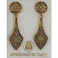 Damascene Gold Deltoid Star of David Stud Drop Earrings by Midas of Toledo Spain style 813010