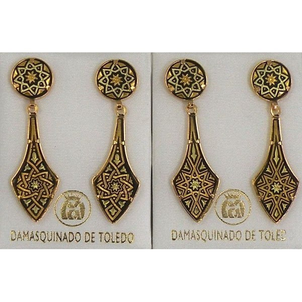 Damascene Gold Deltoid Star Stud Drop Earrings by Midas of Toledo Spain style 813010