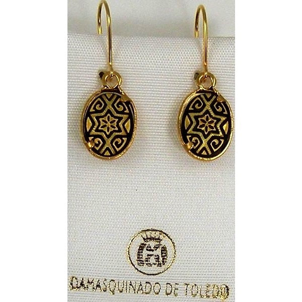 Damascene Gold Star of David Oval Drop Earrings by Midas of Toledo Spain style 811001