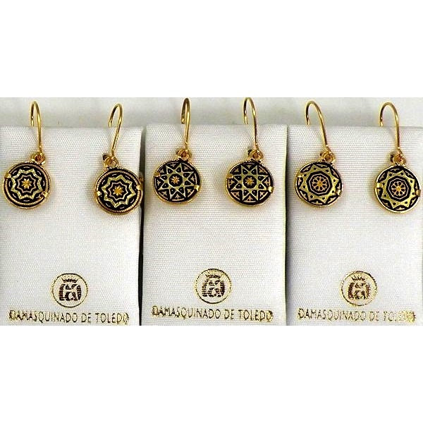 Damascene Gold Star Round Drop Earrings by Midas of Toledo Spain style 811002