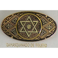 Damascene Gold Star of David Oval Brooch by Midas of Toledo Spain style 825016