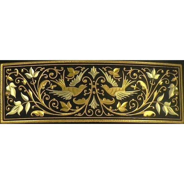 Damascene Gold Bird Rectangle Barrette by Midas of Toledo Spain style 850007-6